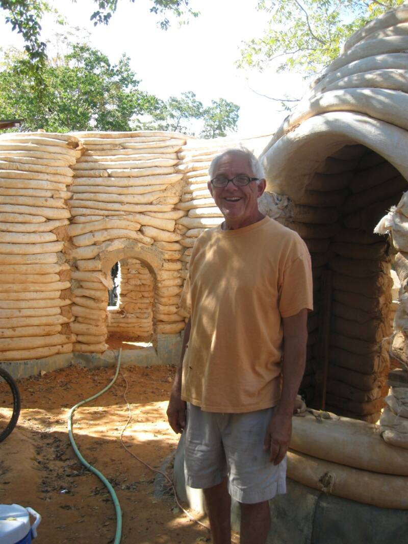 Bill Stone with his Earthbag House