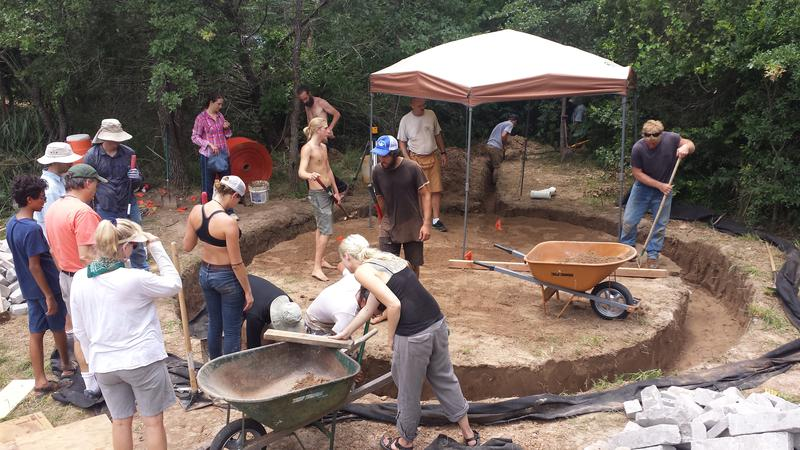June 2015 Earthbag workshop in Bastrop, Rubble trench foundation